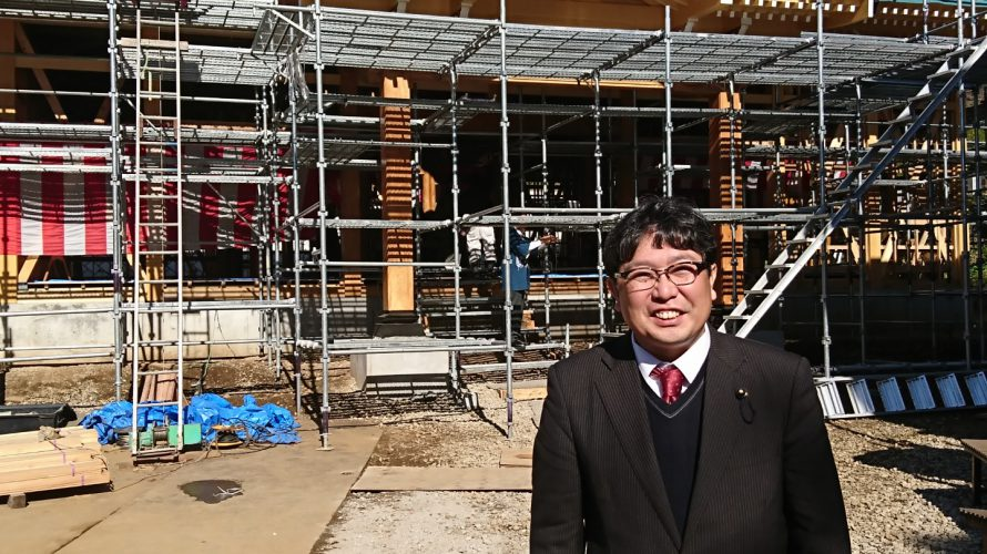 龍散寺(東富岡)に上棟式に参加